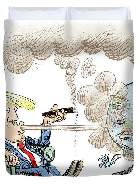 Trump And The World On Climate Duvet Cover