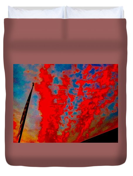 Trump Red Sunset Meets American Flag Duvet Cover