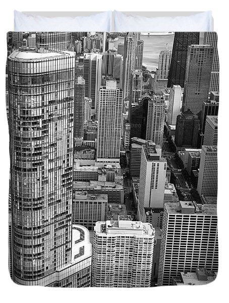 Duvet Cover featuring the photograph Trump Tower And John Hancock Aerial Black And White by Adam Romanowicz