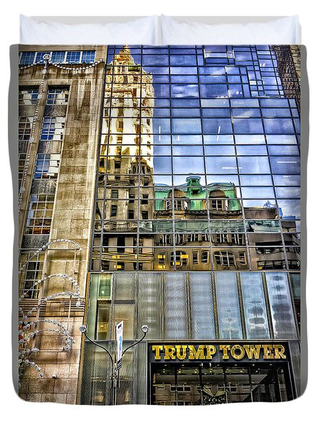 Duvet Cover featuring the photograph Trump Tower With Reflections by Walt Foegelle