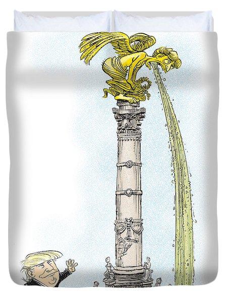 Trump Visits Mexico Duvet Cover