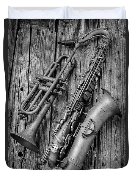Trumpet And Sax Duvet Cover