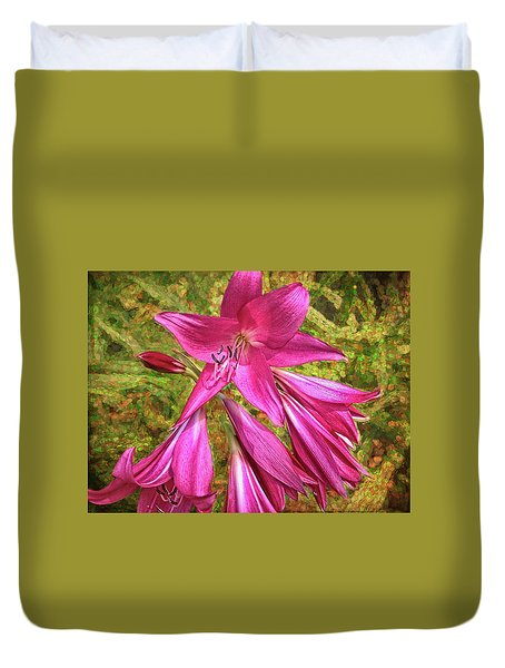 Duvet Cover featuring the photograph Trumpet Flowers by Lewis Mann