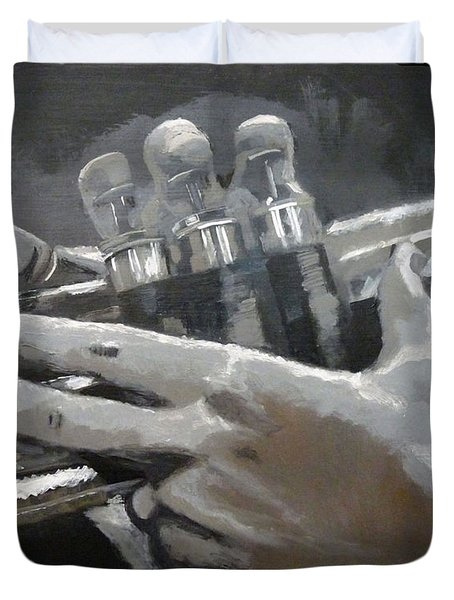 Duvet Cover featuring the painting Trumpet Hands by Richard Le Page