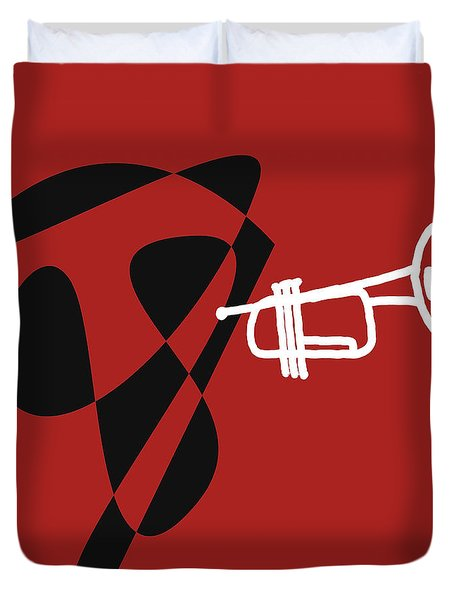 Trumpet In Orange Red Duvet Cover by David Bridburg