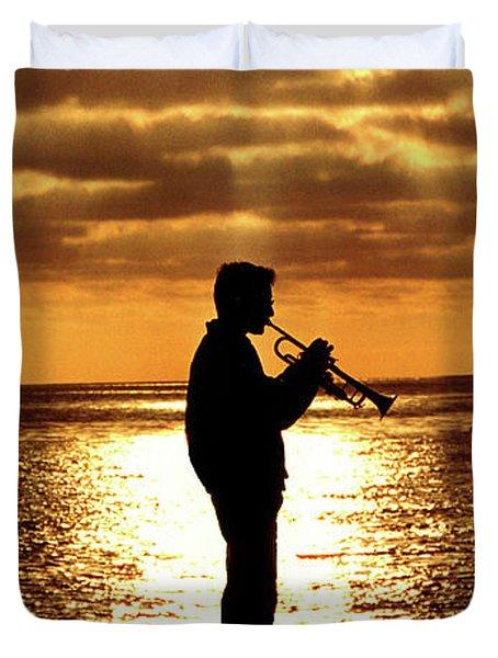 Trumpet Player Duvet Cover