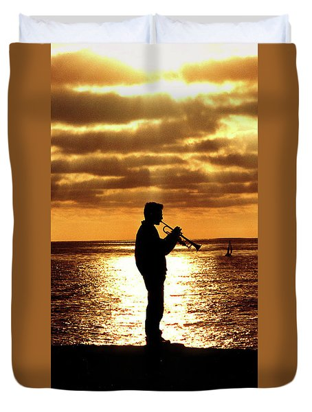 Trumpet Player Duvet Cover
