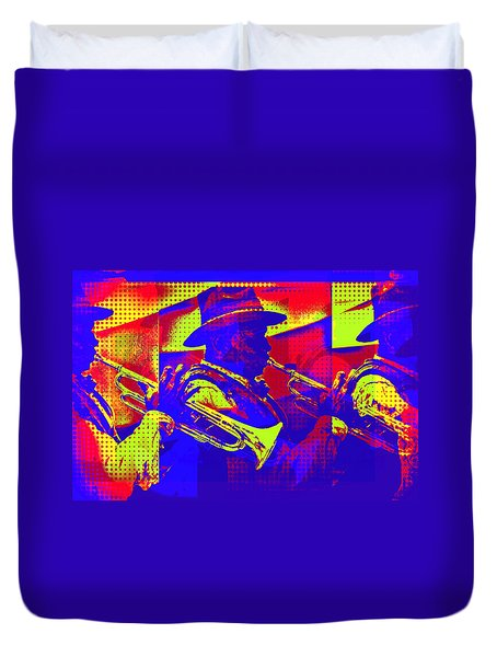 Trumpet Player Pop-art Duvet Cover