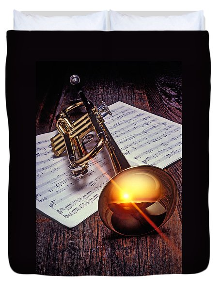 Trumpet With Sunset Duvet Cover