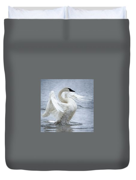 Duvet Cover featuring the photograph Trumpeter Swan - Misty Display 2 by Patti Deters