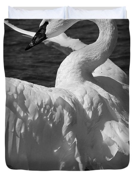 Trumpeter Swan Vertical Black And White Duvet Cover