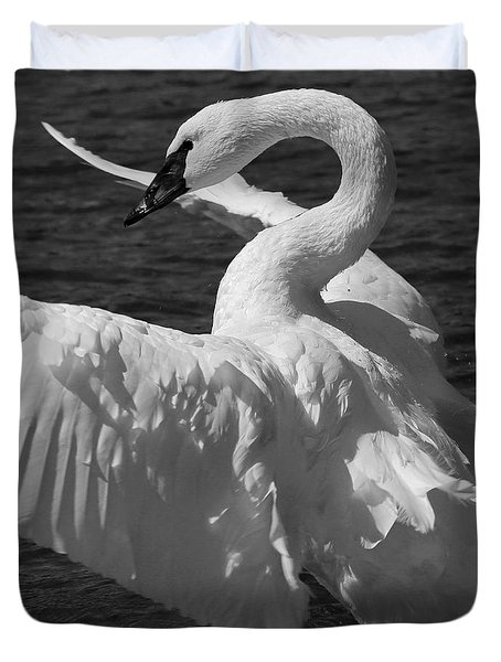 Duvet Cover featuring the painting Trumpeter Swan Vertical Black And White by Sue Harper