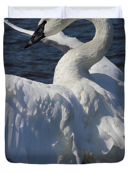 Trumpeter Swan Vertical Duvet Cover