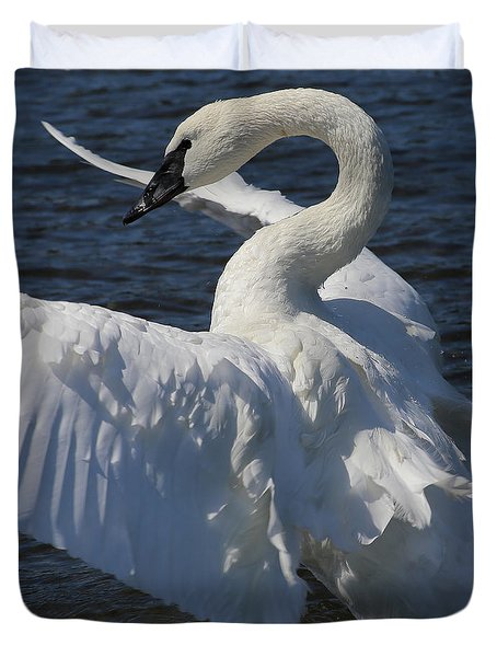 Duvet Cover featuring the photograph Trumpeter Swan Vertical by Sue Harper