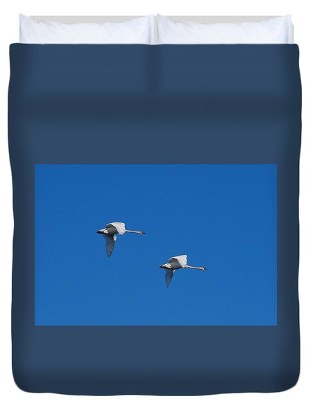 Duvet Cover featuring the photograph Trumpeter Swans 1725 by Michael Peychich