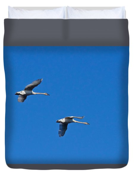 Duvet Cover featuring the photograph Trumpeter Swans 1726 by Michael Peychich