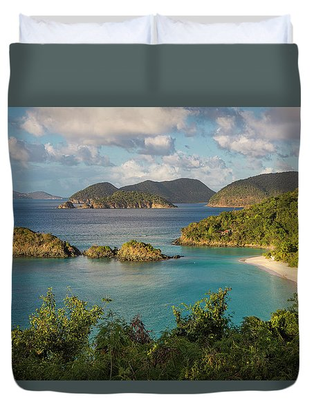 Duvet Cover featuring the photograph Trunk Bay Morning by Adam Romanowicz