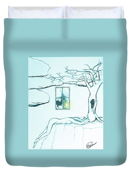 Duvet Cover featuring the drawing Truth by Elly Potamianos