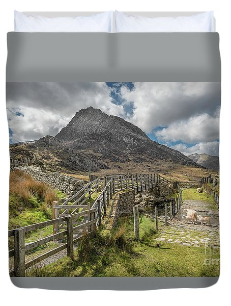 Duvet Cover featuring the photograph Tryfan And The Ogwen Valley by Adrian Evans