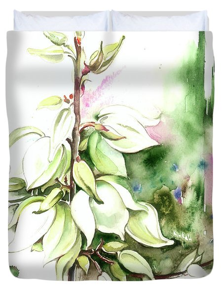Duvet Cover featuring the painting Trying On Wedding Dress by Anna Ewa Miarczynska