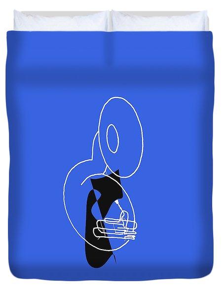 Tuba In Blue Duvet Cover by David Bridburg