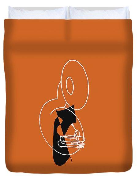 Tuba In Orange Duvet Cover by David Bridburg