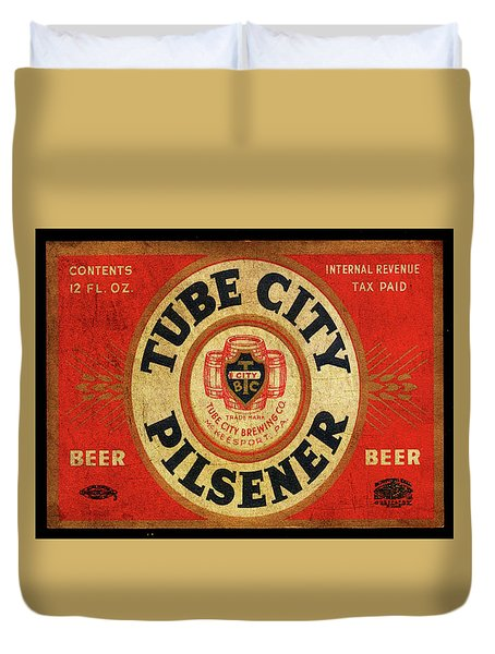Duvet Cover featuring the digital art Tube City Pilsner by Greg Sharpe
