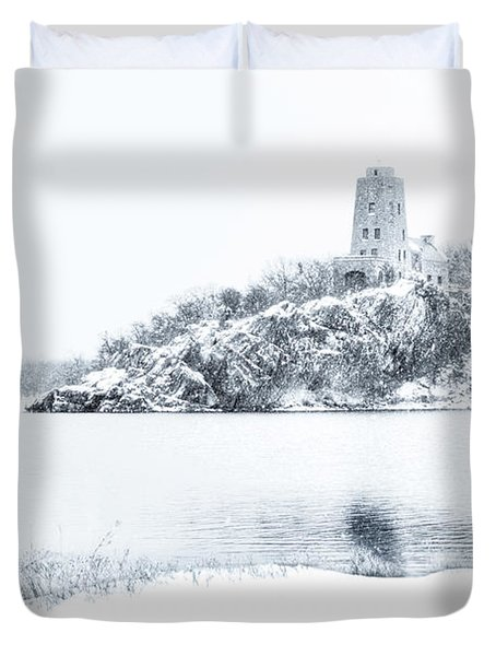 Tucker's Tower In Winter Duvet Cover by Tamyra Ayles