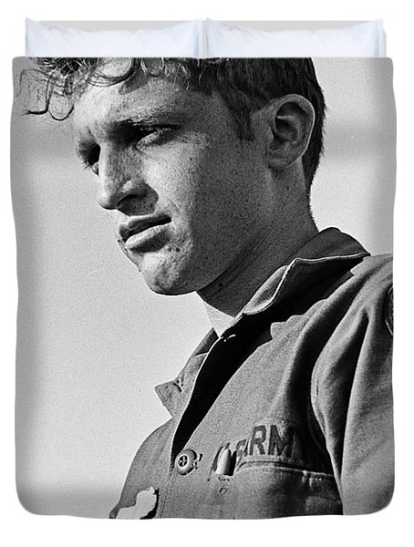 Tucson Arizona Army Reservist Taking Part In Summer Camp Exercise Death Valley  Ca 1968 Duvet Cover