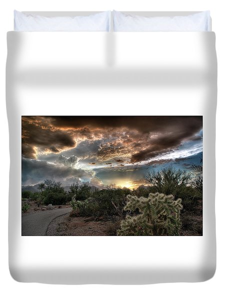 Tucson Mountain Sunset Duvet Cover by Lynn Geoffroy
