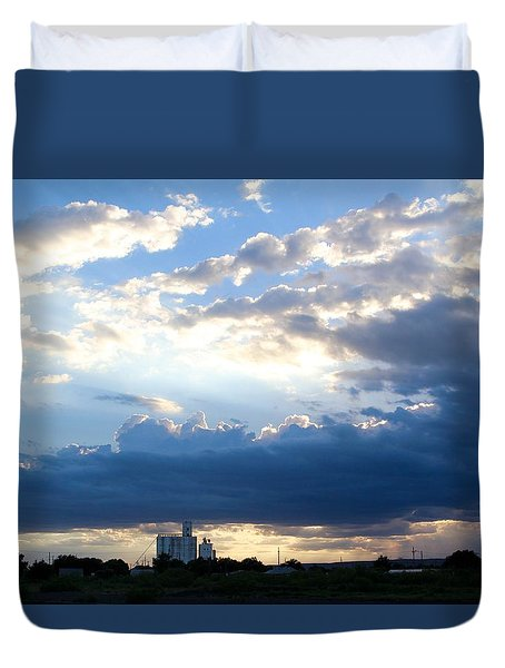 Tucumcari Grain Tower Duvet Cover by Suzanne Lorenz