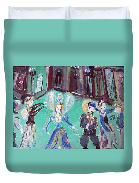 Duvet Cover featuring the painting Tudor Fairies by Judith Desrosiers