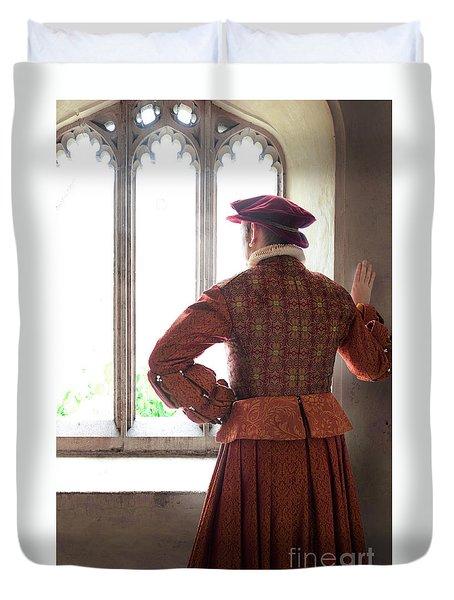 Tudor Man At The Window Duvet Cover by Lee Avison