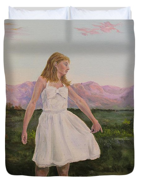 Duvet Cover featuring the painting Tuesday's Child by James  Andrews