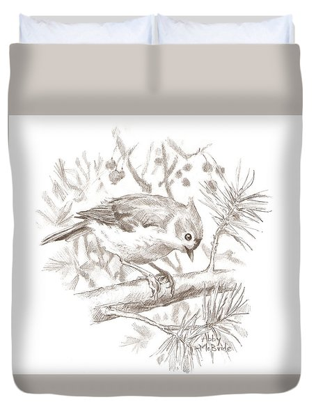 Tufted Titmouse Duvet Cover