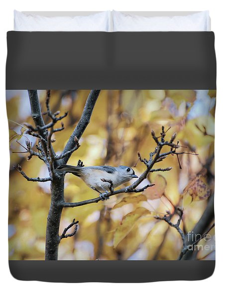 Duvet Cover featuring the photograph Tufted Titmouse In Autumn by Kerri Farley