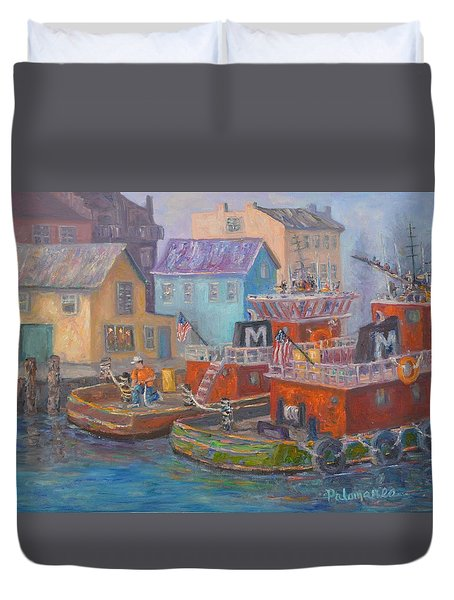 Tug Boats Portsmouth Maritime Painting Duvet Cover