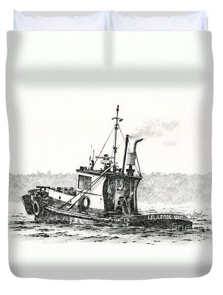 Tugboat Lela Foss Duvet Cover by James Williamson