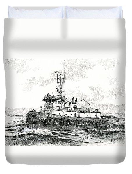 Tugboat Sandra Foss Duvet Cover by James Williamson