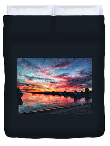 Tugboat Sirius At Sunrise Duvet Cover