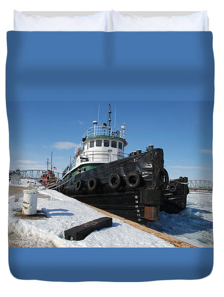 Tugs Docked For Winter Duvet Cover