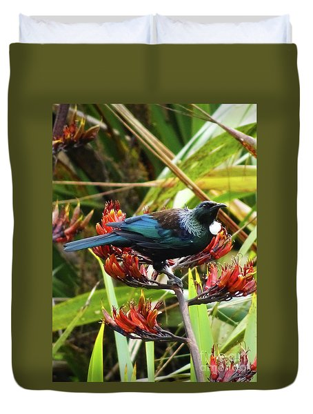 Duvet Cover featuring the photograph Tui In Flax by Angela DeFrias