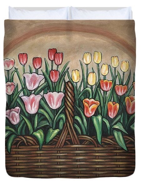Tulip Basket Duvet Cover by Linda Mears