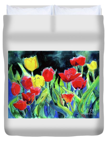 Duvet Cover featuring the painting Tulip Bed At Dark by Kathy Braud