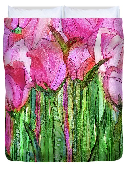 Duvet Cover featuring the mixed media Tulip Bloomies 1 - Pink by Carol Cavalaris