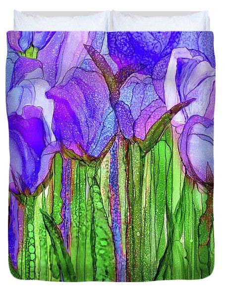 Duvet Cover featuring the mixed media Tulip Bloomies 1 - Purple by Carol Cavalaris