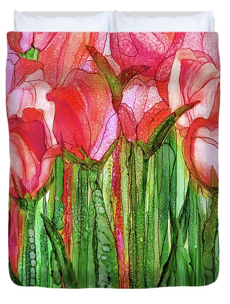 Duvet Cover featuring the mixed media Tulip Bloomies 1 - Red by Carol Cavalaris