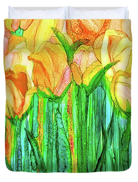 Duvet Cover featuring the mixed media Tulip Bloomies 1 - Yellow by Carol Cavalaris