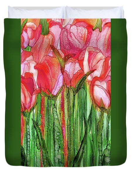 Duvet Cover featuring the mixed media Tulip Bloomies 2 - Red by Carol Cavalaris