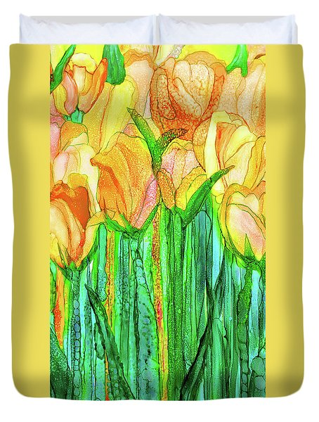 Duvet Cover featuring the mixed media Tulip Bloomies 2 - Yellow by Carol Cavalaris